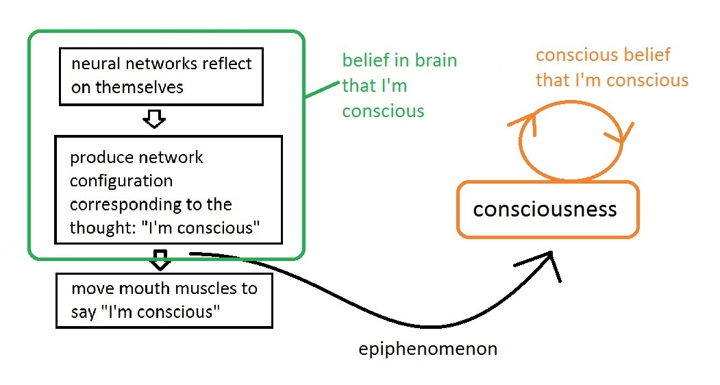Another possible epiphenomenalist explanation of how I know I'm conscious. I release this image into the public domain.