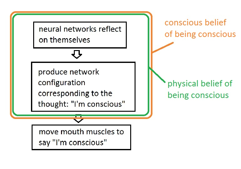 Functionalist explanation of how I know I'm conscious. I release this image into the public domain.
